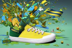 Havaianas | Gelmi - Estúdio De Arte Photoshop 4, Shoe Advertising, Shoe Poster, Art Direction, Converse Chuck Taylor, High Top Sneakers, Flip Flops, Branding, Yellow