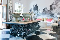 beautiful table from antique French balconies