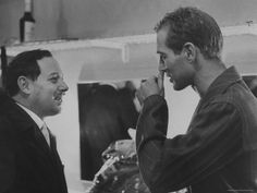 """Brick Pollit meets his maker...Tennessee Williams & Paul Newman on the set of """"Cat on a Hot Tin Roof"""", 1958."""