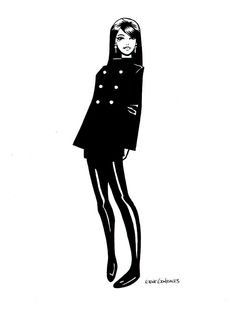 Fanart of character Death by Neil Gaiman, drawn by Gene Gonzales with a '60s look.