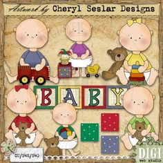 Bright Baby Folk 1 - Cheryl Seslar Country Clip Art