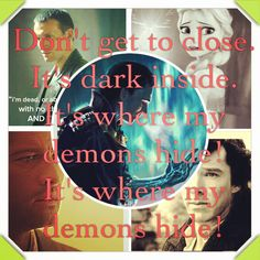 I'm sure where ti pin this. Sherlock, the Ninth Doctor, Castiel, Elsa and Loki? And a sad song? Oh my then....