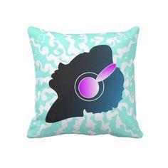 Girl with Headphones Pillow