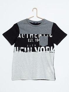 Camiseta de punto color block con bolsillo en el pecho                                                                                                                                             gris Joven niño