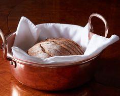 Copper jam pot doubling as a bred server