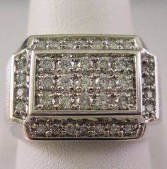 Mens Diamond Ring 1 Carat Total Rounds in Solid 14K White Gold - 1ct 14kt WG by americanjewelryco, $1100.00