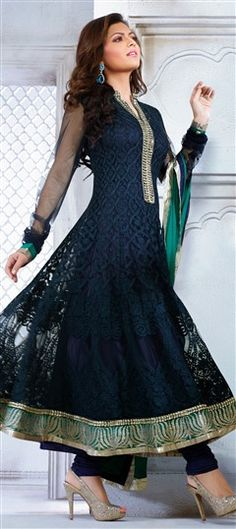 Anarkali Suits, Bollywood Salwar Kameez, Net, Resham, Blue Color Family