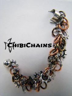 Cuff Earring - Shaggy Loops by Chibichains on DeviantArt #Chibichains #Chainmail #Chainmaille #CuffEarring #Cuff #ShaggyLoops #Steampunk #Gears