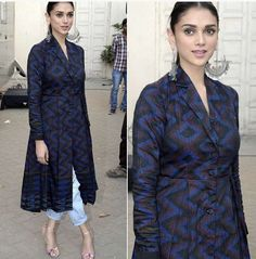 aditi rao hydari for anita dongre sherwani kurta Simple Kurti Designs, Kurta Designs Women, Salwar Designs, Kurti Designs Party Wear, Cotton Kurtis Designs, Dress Neck Designs, Designs For Dresses, Blouse Designs, Stylish Dresses