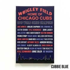 This special edition Chicago Cubs artwork features the 2016 World Series winning team roster. Have or give this print as a commemorative item to remember the 2016 World Series championship team! This artwork also features the skyline at the bottom, displaying some of the actual words that were lit up in the buildings on the night the Cubs won. Available in Cubbie blue or vintage black, this special edition print makes a great gift and awesome addition to any Cubs fans memorabilia! Canvas…