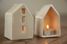 Ceramic clay art miniature pottery candle lantern Love house- could make it a money box too