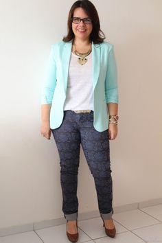 blazer azul + calça estampada