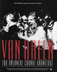 Van Halen 1991 For Unlawful Carnal Knowledge ad print Sammy Hagar Eddie Alex Van Halen 2, Van Halen 5150, Eddie Van Halen, Van Hagar, Young Guitar, Sammy Hagar, Wonder Art, Rock Videos, Cat Stevens
