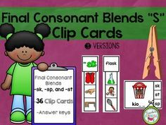 """This set of 36 clip cards will give your students lots of practice on final consonant """"s"""" blends."""