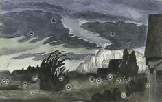 Charles Burchfield, Night Scene, 1935. Transparent and opaque watercolor, pastel, and charcoal on paper, 16 7/8 × 26 7/8 in. (42.9 × 68.3 cm). Whitney Museum of American Art, New York