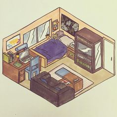 Post with 147 views. Bedroom Drawing, House Drawing, Bedroom Art, Isometric Drawing, Isometric Design, Aesthetic Drawing, Aesthetic Art, Habbo Hotel, Kawaii Room