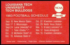 1983 LOUISIANA TECH BULLDOGS CHEVROLET  FOOTBALL POCKET SCHEDULE FREE SHIPPING #SCHEDULE