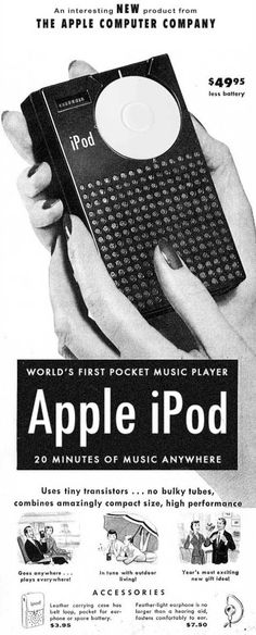 Funny Vintage Ads 1950S | This faux-pod ad actually features the first commercial pocket ...