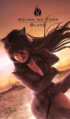 Azuma no Tora by ThyBlake on DeviantArt Rwby Anime, Rwby Fanart, Chica Anime Manga, Rwby Characters, Fantasy Characters, Neko, Rwby Blake, Rwby Ships, Blake Belladonna