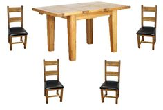 NB058+Vancouver+Oak+1.0m+Extending+Table+and+4+Leather+Pad+Chairs