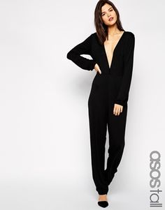 4a04a11d682 ASOS TALL Exclusive 70 s Plunge Jumpsuit Tall Women