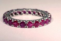 Vintage Ruby and White Gold Wedding Eternity Band