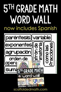 My 5th grade math word wall now includes Spanish math vocabulary. You can see the progress of my math word walls being translated into Spanish at scaffoldedmath.com Math Vocabulary, Spanish Vocabulary, Teaching 5th Grade, 5th Grade Math, Math Word Walls, I'm Happy, 5th Grades, Anchor Charts, Words