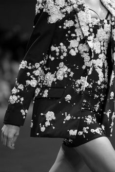 Blazer & dress with elegant pearl embellished floral print; fashion details // Givenchy S/S 2015