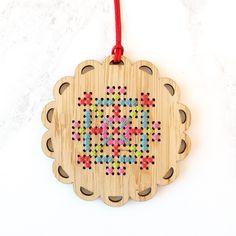 Cross Stitch Bamboo Ornament Kit - Bright Snowflake