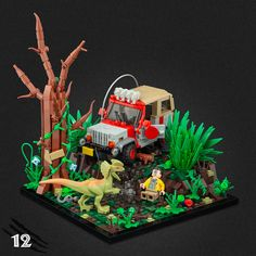 The journey through Jurassic Park continues with eight more stunning scenes in Jonas Kramm's vignette series. Lego Jurassic Park, Lego Jurassic World Dinosaurs, Lego Cars, Lego Truck, Lego Technic, Pokemon, Legos, Lego Autos, Technique Lego