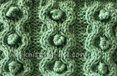 Knitting Stitches - Circle and Bobble Stitch - Lovely use of bobbles within cables for an unusual texture. from knitting-bee.com