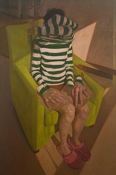 Nicolas Uribe {figurative #surreal art multi-arm female striped blouse seated woman painting #noveltechnique #loveart} nicolasuribeart.com