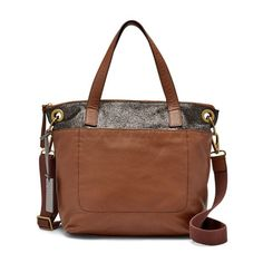 Fossil Keely Brown Multi Multi Zipper Closure Leather/Cotton Lining Tote http://www.bonanza.com/listings/402903307