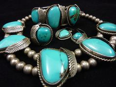 Vintage Navajo Sterling Silver Squash Blossom SET w Vivid Blue Gem Turquoise! Includes Necklace, Cuff Bracelet, Size 7.5 Ring & Earrings!