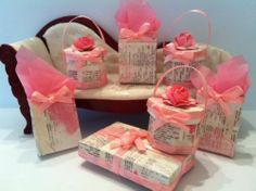 Shabby Doll House | Shabby Chic Miniture Bridal Dolls House Hat Boxes Dress Box and Gift ...