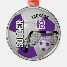 """Soccer ball ornament. A great gift for a soccer player, soccer / football fan or soccer team coach, a fun sport design. More colors are available if you can't find your colors, please contact me. Please make sure the text is below the green dash marking safe line area. ( """"click to customize further"""" to check this or click on the CUSTOMIZE / PERSONALIZE BUTTON) especially if you switch ornaments styles. This Product is 100% Customizable. Graphics and text can be deleted, moved, resized, changed a Football Crafts, Gifts For Football Fans, Team Coaching, Soccer Coaching, High School Games, Personalized Buttons, Ball Ornaments, Soccer Players, Soccer Ball"""