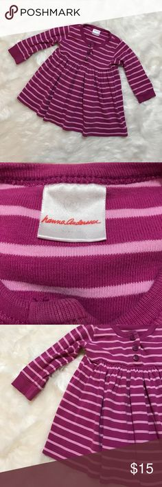 Hanna Andersson pink striped tunic top size 70 Hanna andersson pink striped tunic top size 70/US size 6-12 months Hanna Andersson Shirts & Tops Blouses