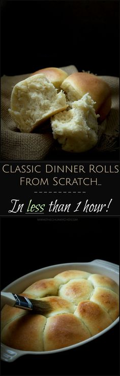 Classic Dinner Rolls - In less than 1 hour! | The Chunky Chef | Everything you love about the soft, pillowy, classic dinner rolls from scratch, but made in SO much less time. Less than 1 hour is all you need!