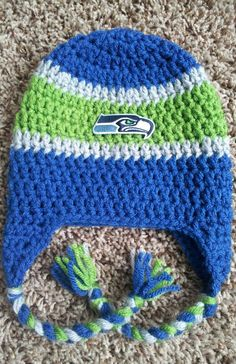Seattle Seahawks NFL Team Spirit Crochet Beanie on Etsy, $15.00
