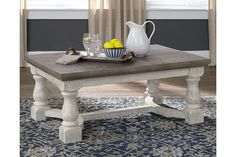 Ashley Furniture Havalance Coffee Table with Made of pine wood, pine veneer and engineered wood,Two-tone distressed finish: weathered gray top; Solid Wood Coffee Table, Diy Coffee Table, Coffee Table With Storage, Coffee Table Design, Shabby Chic Coffee Table, Farmhouse Coffee Tables, White Rustic Coffee Table, White Farmhouse Table, Painted Coffee Tables