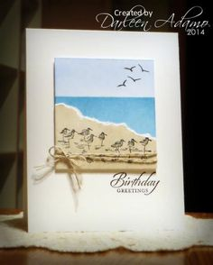 """By Darleen Adamo (darleenstamps - at Splitcoaststampers). On white cardstock panel, mask water and sponge sky; mask sky and sponge water. Tear piece of tan white-core cardstock; Stamp sandpipers from """"Wetlands"""" (Stampin' Up) on this piece in black. Add tan piece to sponged panel. Stamp or draw birds in sky. Add linen thread. Pop up on white card base."""