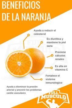 Infografía de los beneficios de la naranja. Ayuda a reducir el colesterol, es diurética y mantiene la piel sana, previene los cálculos renales, es alta en vitamina C y fortalece el sistema inmunologico. Ayuda a disminuir la presión arterial y prevenir los problemas cardio vasculares.
