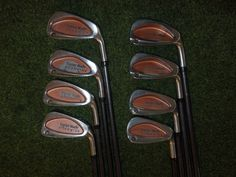 GREAT TAYLORMADE GOLF CLUBS BURNER OVERSIZE IRONS 3-PW BUBBLE STIFF PLUS SHAFTS
