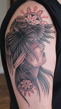 Owl and a Girl Native Tattoo