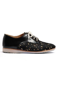 Rollie Nation Derby in Black Leather/Cow Print