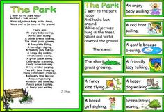 FREE Teaching Resources KS1 and KS2 Literacy Resource, Park Poem showing adjective, noun, verb format.