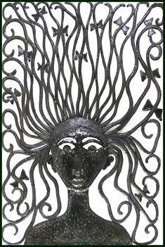 Metal Art Wall Hanging - Haitian Steel Oil Drum Wall Decor - Metal Art - Wild Hair Woman, Haitian Art, Metal Wall Art, Home Decor , Metal Art Decor, Outdoor Metal Wall Art, Metal Artwork, 55 Gallon Steel Drum, Drums Art, Haitian Art, Garden Wall Art, Hanging Wall Art, Wall Hangings