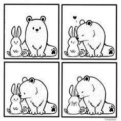 Cute Couple Comics, Couples Comics, Bunny And Bear, Cute Bears, Love Can, Cute Bunny, Cute Couples, Rabbit, Creatures