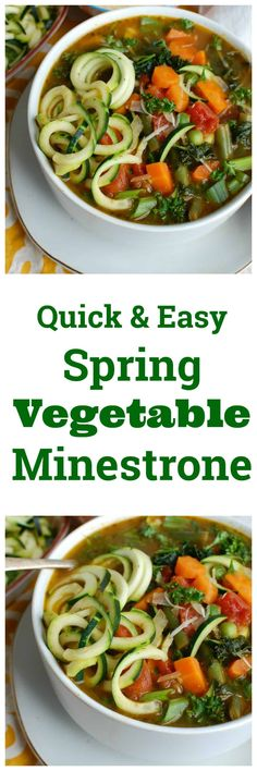 Spring Vegetable Minestrone is a vegan, healthy soup packed with vegetables, diced tomatoes, pesto and fresh herbs. This is a nice vegetarian meal that you can easily add chickpeas or white beans to and bulk it up. This is an easy dinner or lunch! / acedarspoon.com #vegan #vegetarian #soup #healthy #vegetables #dinner #lunch #zoodles #zucchini #greens #vegetablesoup #minestronesoup