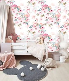 Pink Wall Paper Floral, Wallpaper Wall Mural Removable, Wallpaper Flamingo Mural Wallpaper Peel & Stick, Self Adhesive Wallpaper Nursery - Today Pin Nursery Wallpaper, Vinyl Wallpaper, Self Adhesive Wallpaper, Peel And Stick Wallpaper, Nursery Twins, Safari Nursery, Nursery Room, Washable Paint, Focal Wall